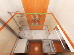 Оранжевая Ванная в панельном доме