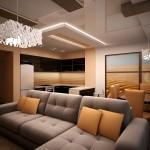 современный дизайн Гостиная с кухней