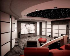 Стильный кинозал в цоколе коттеджа. Интерьер кинотеатра