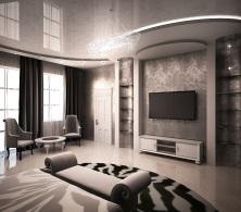 дизайн интерьера. черно белая современная спальня